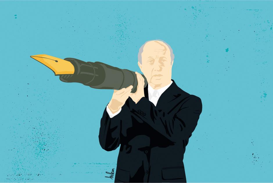 diplomatie-pour-vendre-la-guerre-fabius-web-agence-miracle-illustration-graphisme-journal-cqfd